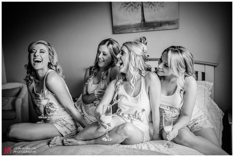 Bridesmaids laughter on wedding morning