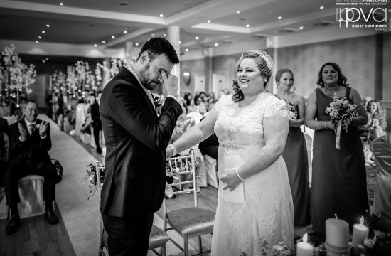 Groom crying during wedding vows