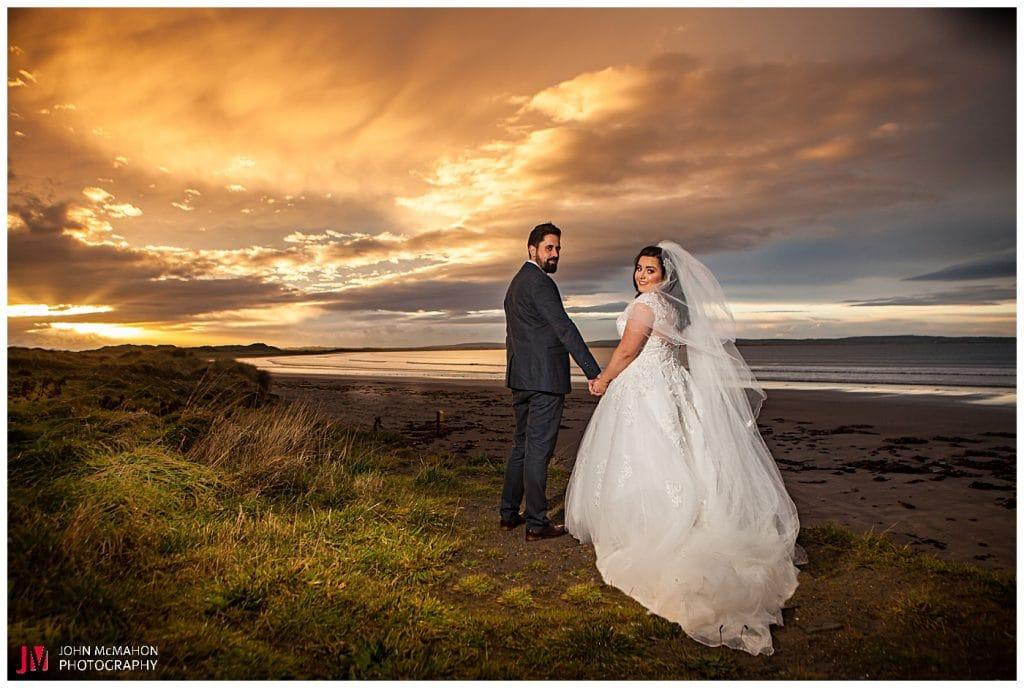Sunset on wedding day in Enniscrone Sligo