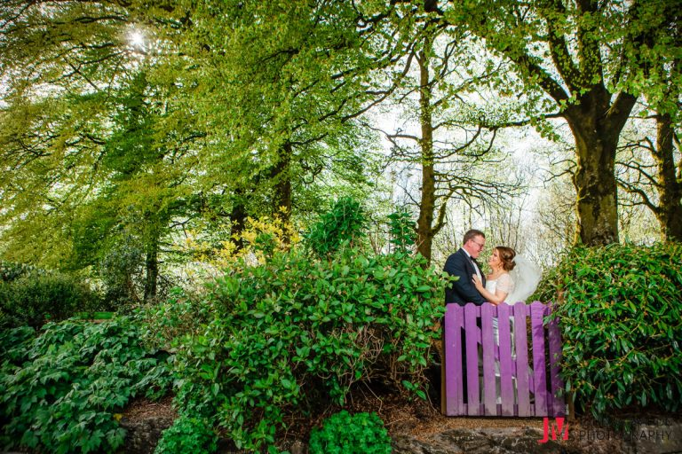 sun shining for bride and groom in the Raheen woods hotel
