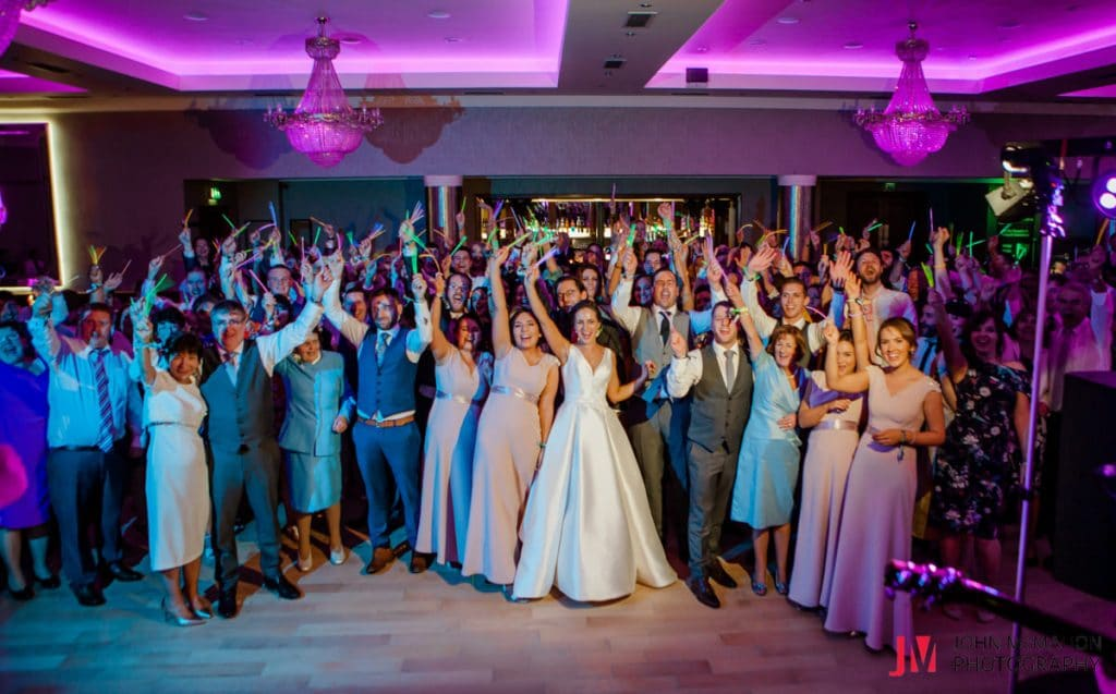 Lynda and Richards wedding guests dancing in the Salthill hotel