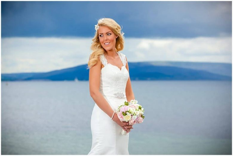 Beautiful bride on the Prom Salthill