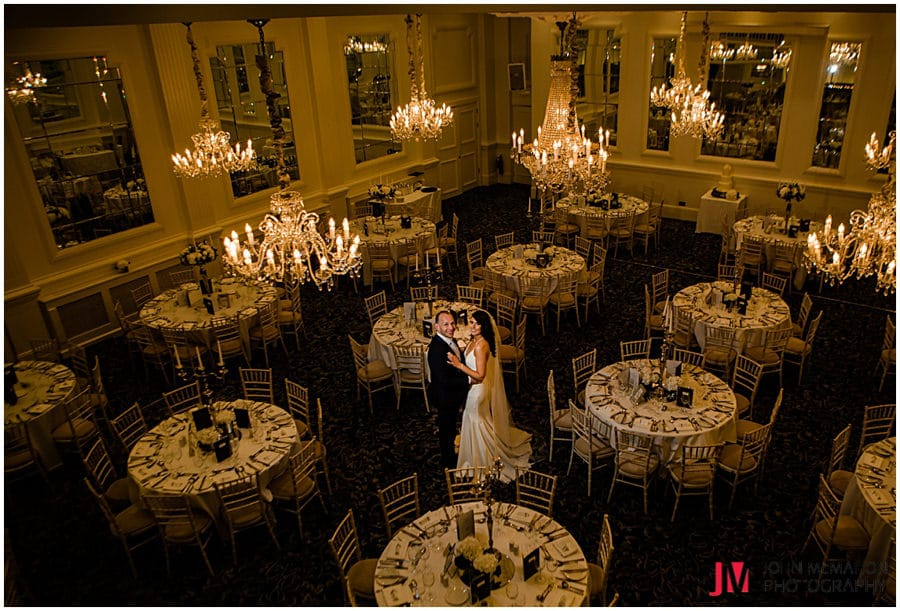 Bride and groom in Hotel Meyrick