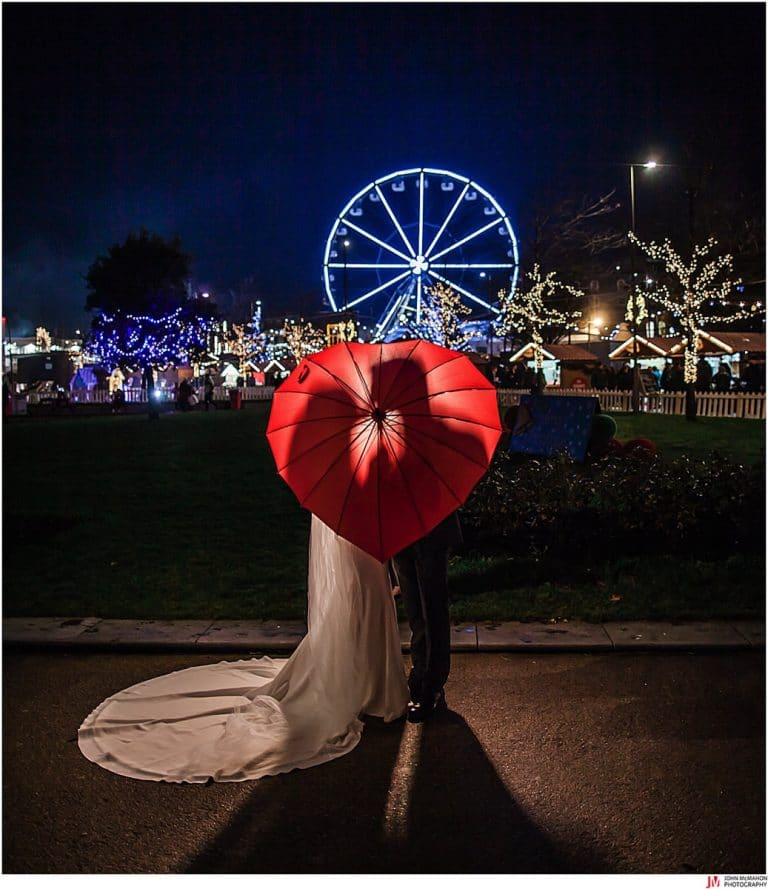 Wedding photos at the Christmas Market Eyre Square Galway